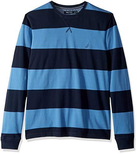 Nautica Striped Sweater - Nautica Men's Crew Neck Striped Long Sleeve Shirt, Navy, Large