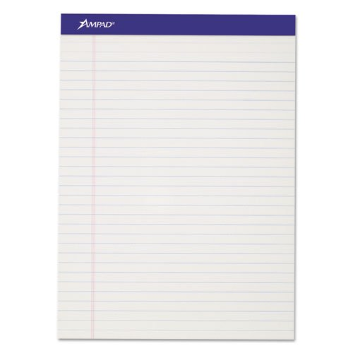Ampad Perforated Writing Pad, 8 1/2 x 11 3/4, White, 50 Sheets (7 Dozens)