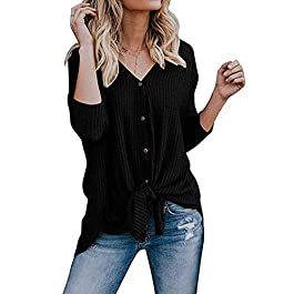 Women's Henley Shirts Long Sleeve  Tunic Blouse Loose Fitting Tops