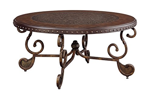 (Rafferty Vintage Traditional Dark Brown Round Coffee Table Ashley Furniture)