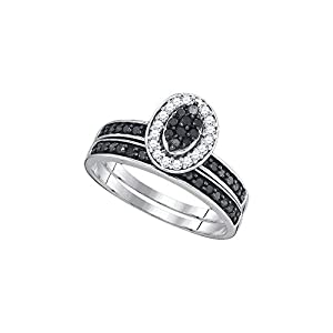 Sterling Silver Womens Black Colored Diamond Cluster Bridal Wedding Engagement Ring Band Set 1/2 Cttw