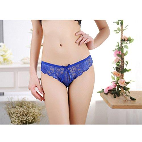 Duo La Sexy Low-waist Bow Transparent Elastic Temptation Fun Underwear (Blue)