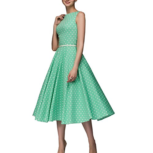 Simple Flavor Women's Vintage Dress Sleeveless O-Neck Party Cocktail Dress (Green, L) - Floral Patent Belt