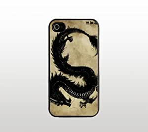 Dragon Snap-On Case for Apple iPhone 4 4s - Hard Plastic - Black - Cool Custom Cover