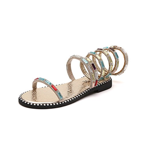Bottomed Gold New Pearls with Shoes gold Toes Drill Pair of champagne Winding drills Shoes Summer Flat and Women's JUWOJIA Water Sandals SYCqvZx