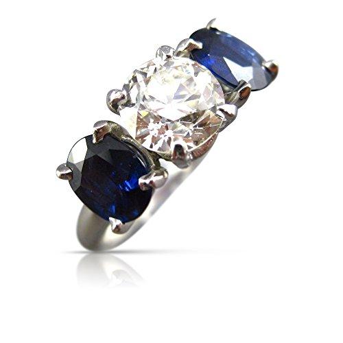 Milano Jewelers 3.34CT OLD MINE DIAMOND & AAA SAPPHIRE PLATINUM 3D ENGAGEMENT RING 26252 -