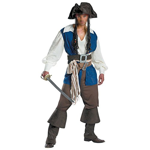 [Halloween Pirate Cosplay Men's Pirate Swashbuckler Costume Buccaneer Dress Up & Role Play,Large] (Pirate Man Adult Costumes)