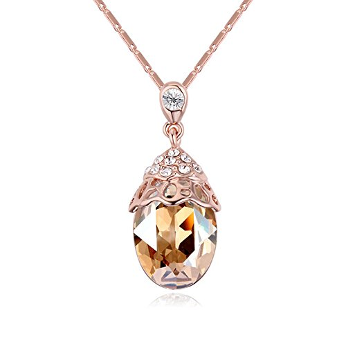 Gorgeous Jewelry Golden Shadow Austrian Crystal Color Scallop Shape Pendant Necklace Deluxe Female jewellery