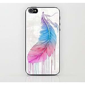 TY- caso duro del patrón de plumas de color para el iphone 4 / 4s