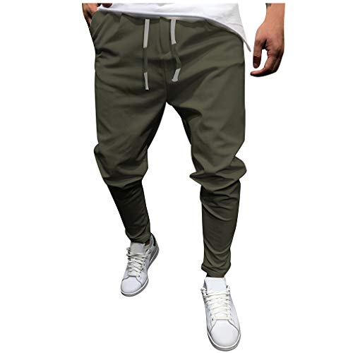 Mens Sweatpants, F_Gotal Men's Casual Solid Color Drawstring Elastic Waist Sports Running Pants Trouser with Pockets Army Green