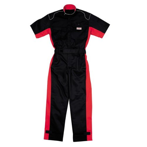 kurehifuku(クレヒフク)半袖つなぎ ピットスーツ 形態安定加工、防縮防シワ加工 kr-kr803 B01MTF7OXO LL|ブラック ブラック LL