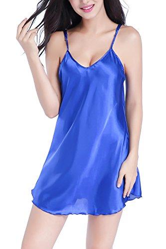 Raso da Notte Pigiami Blu di Camicia della Corto in Reale Dolamen Camicia cinghia morbida Babydoll da biancheria Pigiama della Donna notte Luxury spaghetti Chemise B85ExAy4qw