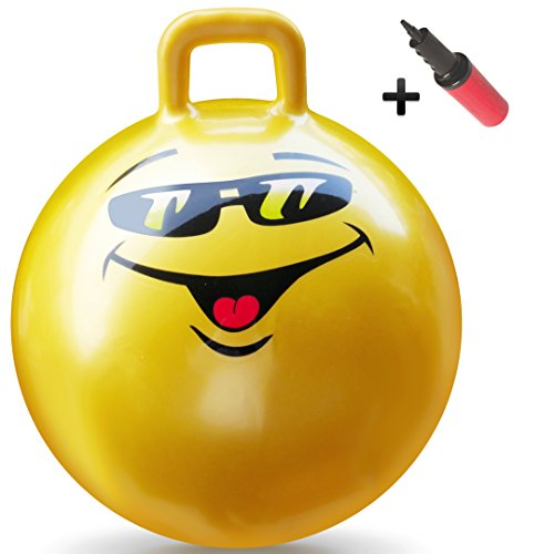 WALIKI Toys Hopper Ball for Kids Ages 7-9 (Hippity Hop Ball, Hopping Ball, Bouncy Ball with Handles, Sit & Bounce, Kangaroo Bouncer, Jumping Ball, 20 Inches, Yellow, Pump Included)