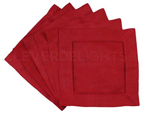 "CleverDelights 12 Pack Red Hemstitch Cocktail Napkins - 6"" x 6"" - 45/55 Cotton Linen Blend"