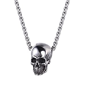 U7 Men Personalized Silver Black Gothic Skull Necklace Stainless Steel /18K Gold/Black Leather Chain Pendant, 20 Inch to 26 Inch