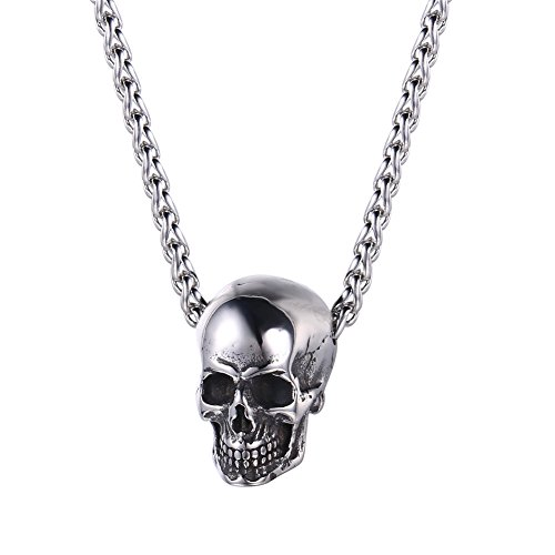 U7 Men Silver Black Gothic Skull Necklace Stainless Steel Chain Pendant, 22