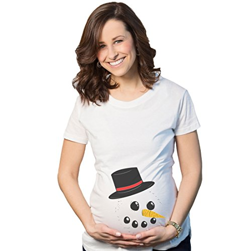 Maternity Snowman Face Tee Announce Pregnancy Funny Winter Pregnant T Shirt (White) - M