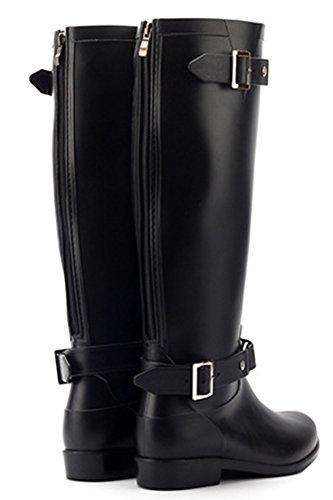 Idifu Womens Comfy Fibbia Punta Rotonda Impermeabile Stivali Da Pioggia Alti Con Cerniera Nera 1