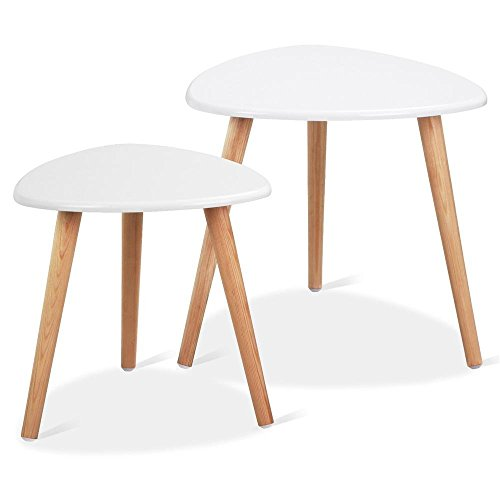 (Yaheetech White Gloss Wood Nesting Tables Living Room Sofa Side End Table Set of 2)