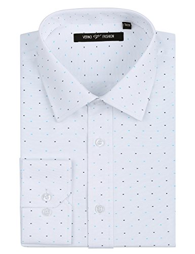 Verno Fashion Men's Printed Bow Tie Classic Fit Long Sleeve Dress Shirt- Available In More Colors (19-19 1/2-36/37, White)