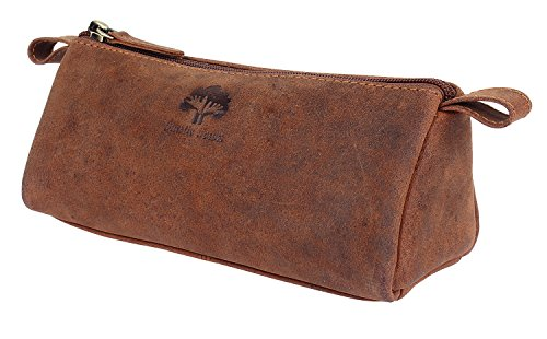 Vintage Leather Zippered Pen Pencil Pouch Gift for Men Women ~ Carry Charcoal Marker Color Brush Bag for Artist Students ~ Craft Tool Kit ~ For College School Office Business Work (Tan)