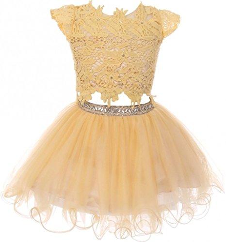 Little Mass 2 Piece (Flower Girl Dress 2 Pieces Set Lace Top Tulle Skirt Rhinestone Waist for Little Girl Champagne 6 CC.5023)