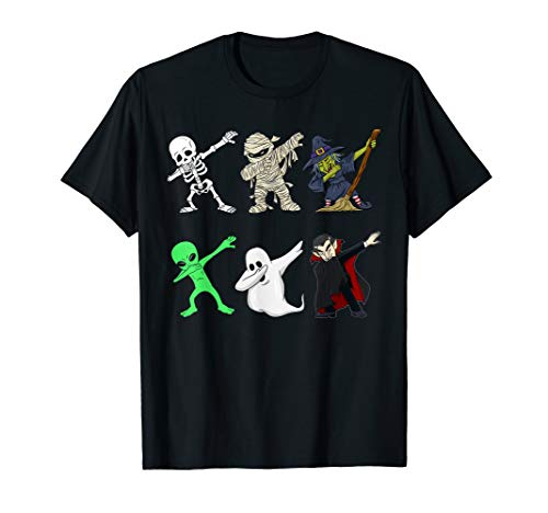 Dabbing Skeleton And Monsters Halloween Dracula T Shirt -