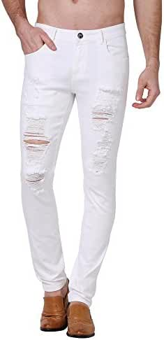 Slim Fit jeans, ZLZ Men's Ripped Distressed Destroyed Skinny Fit Stretch Biker Jeans Pants