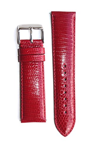 Michele Style Made in Italy 18mm Red Quick Release Genuine Lizard (Padded Lizard)