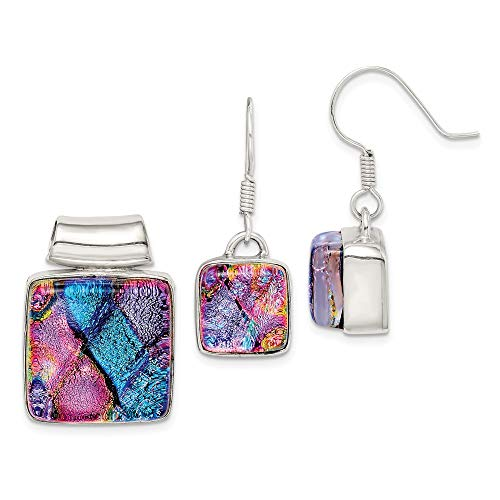 925 Sterling Silver Pink Blue Dichroic Glass Square Drop Dangle Chandelier Earrings Pendant Charm Necklace Set/Fine Jewelry Gifts For Women For Her