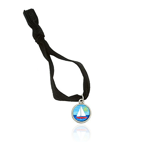 Sailboat on the Lake Bracelet Double Fold Over Stretchy Elastic No Crease Hair Tie with Charm