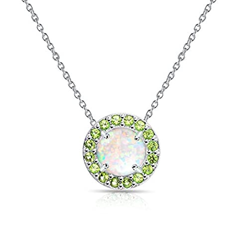 Sterling Silver Simulated White Opal and Simulated Peridot Round Halo Necklace - Peridot Gemstone Round Shape