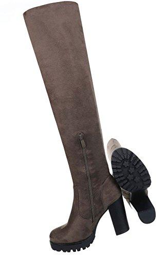 Damen Schuhe Stiefel Moderne Overknee Modell Nr.2 Olive
