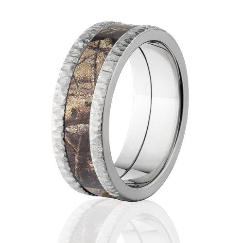 Realtree AP Camo Bands, Tree Bark Camouflage Wedding Ring, Camo Rings ()