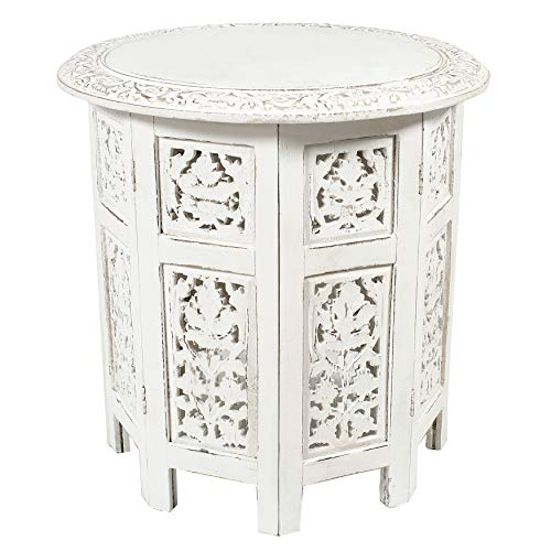 - Cotton Craft - Jaipur Solid Wood Handcrafted Carved Folding Accent Coffee Table - Antique White - 18 Inch Round Top x 18 Inch High