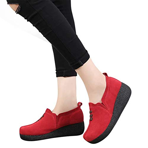 Zeppa Rosso Moda Eleganti Comode Loafers Mocassini Blu 5 Sneakers Estivi Cm Grigio 43 Scamosciato 35 Platform Piatto Nero Pelle Marrone Donna Tacco cOBBW7S5