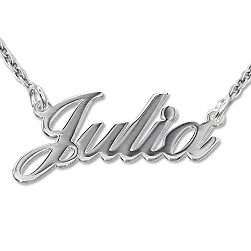 Name Necklace in Sterling Silver 925 - Custom Inscribed Pendant - Jewelry Personalized Gift for Her