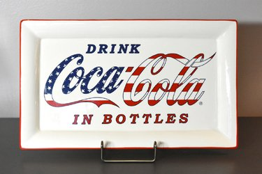 youngs Inc Ceramic Red White Blue Coca Cola Platter, Multi