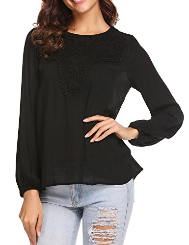 Elover Womens Lace Tops Shirt Loose Long Sleeve Blouse