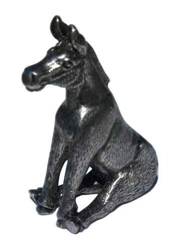 Poker Figurine - Donkey Figurine Poker Weight Guard Card Cover (Antique Silver)
