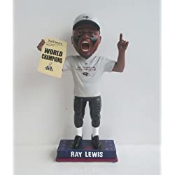 Ray Lewis Baltimore Ravens Super Bowl XLVII Champ (T-Shirt/Hat/Newspaper) Ticket Stub Base NFL Bobble Head Forever CLARKtoys Exclusive #/500