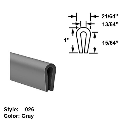 Slippery MDS-Filled Nylon Plastic U-Channel Push-On Trim, Style 026 - Ht. 1'' x Wd. 21/64'' - Gray - 25 ft long by Gordon Glass Co.