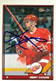 Autograph Warehouse 63700 Jimmy Carson Autographed Hockey Card Detroit Red Wings 1991 O-Pee-Chee No. 104