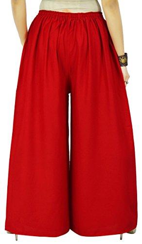 Rayón tejido elástico de la cintura de las mujeres ropa de sport sólido Palazzo Harem Pant Rojo