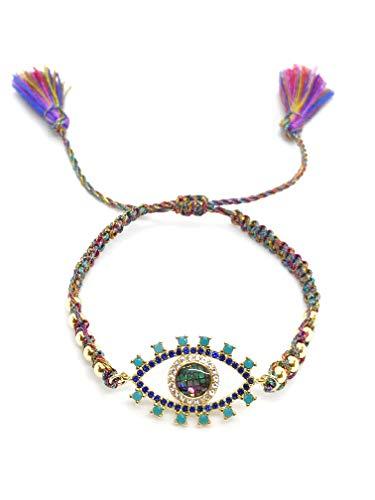 Gold Tassel Braided (LESLIE BOULES Evil Eye Gold Beads Braided Bracelet Adjustable with Charm Colored Tassels)