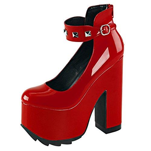 Heels-Perfect - Sandalias de vestir de Material Sintético para mujer rojo (rojo)