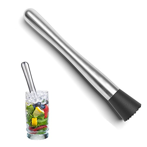 Cocktail Muddler, Stainless Steel Drink Muddler Ideal Bartender Tool for Delicious Refreshing Cocktails, Mojitos and Other Fruit Based Drinks