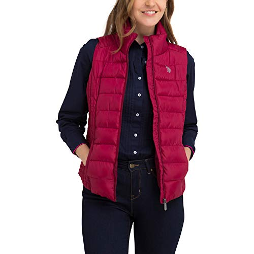 - U.S. Polo Assn. Womens Quilted Zip Up Outerwear Vest - Rose Thicket Red, Medium