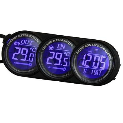 GOZAR Azul Led Coche Digital Interior Termómetro Exterior Reloj Calendario
