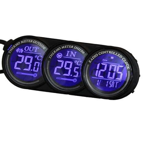 YONGYAO Led Digital Azul Coche Interior Exterior Termómetro Calendario Reloj: Amazon.es: Hogar
